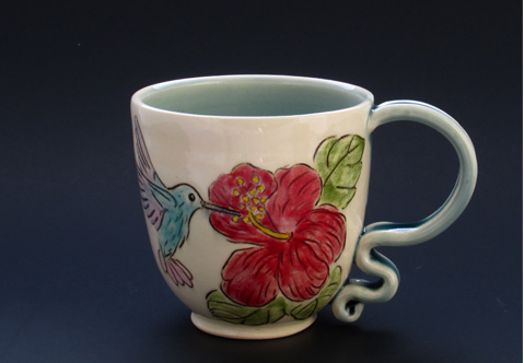 Hummingbird and Hibiscus Cup